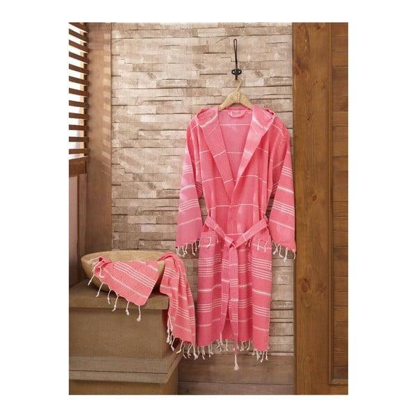 Set růžového županu a ručníku Sultan, vel. S/M