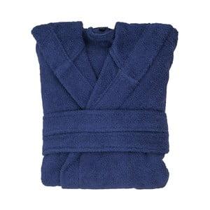 Tmavě modrý bavlněný župan s kapucí Casa di Bassi, velikost S/M