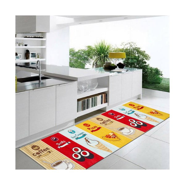 Vysoce odolný kuchyňský koberec Webtappeti Fastfood,60x110cm