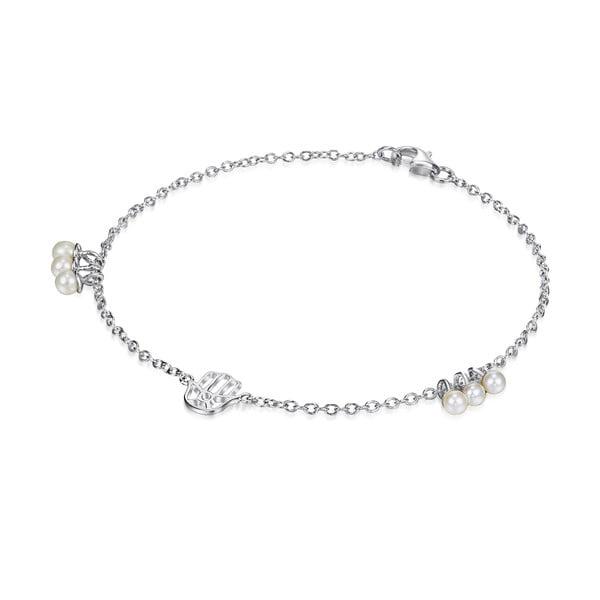 Stříbrný náramek s perlami a přívěskem Chakra Pearls, 17 cm