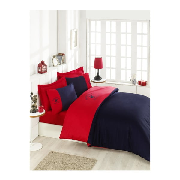 Lenjerie de pat din bumbac satinat și cearșaf BHPC Razzo, 200 x 220 cm, roșu-albastru închis