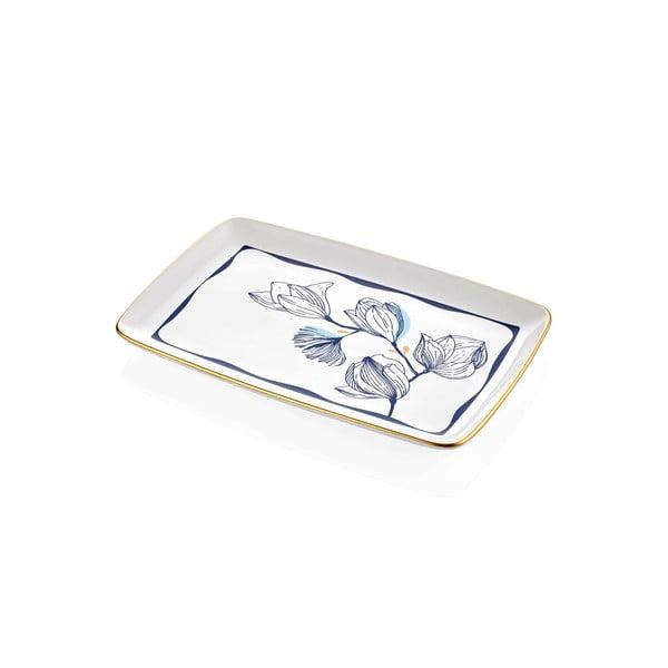Farfurie din porțelan pentru servire cu model de flori albastre Mia Bleu, 34 x 25 cm, alb