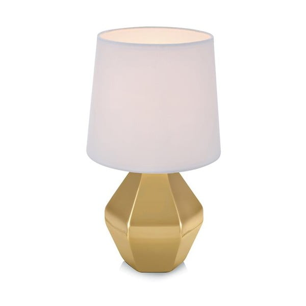 Zlatá stolní lampa s bílým stínidlem Markslöjd Ruby
