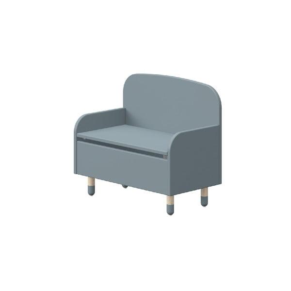 Niebieska ławka ze schowkiem i oparciem Flexa Play