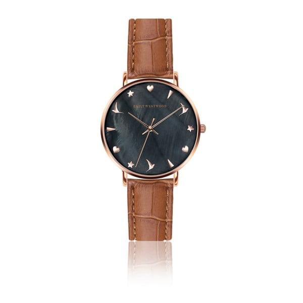 Dámske hodinky so svetlohnedým remienkom z pravej kože Emily Westwood Croco
