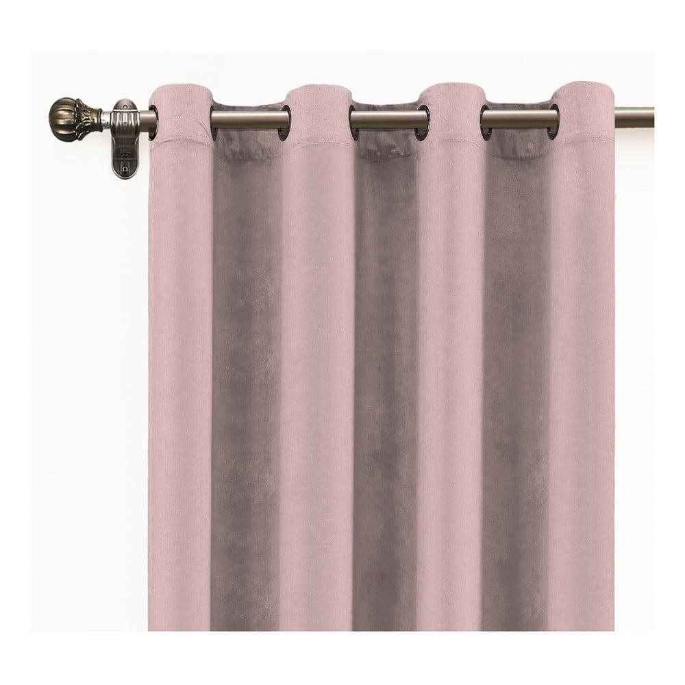Růžový závěs ze sametu Velvet Atelier, 140 x 260 cm