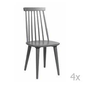 Sada 4 tmavě šedých židlí Folke Lotta