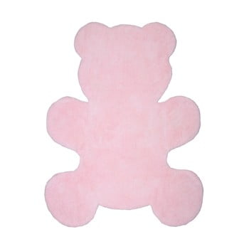 Covor lucrat manual pentru copii Nattiot Little Teddy, 80x100cm, roz imagine