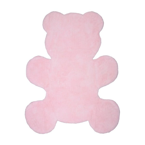 Detský ružový ručne vyrobený koberec Nattiot Little Teddy, 80×100cm