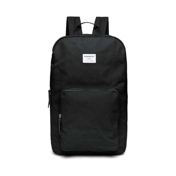 Čierny batoh s koženými detailmi Sandqvist Kim