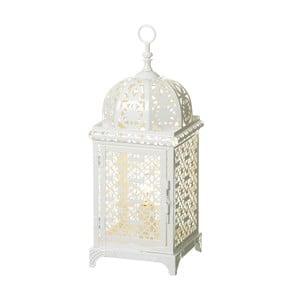 Bílá lampa z kovu ve tvaru lucerny Unimasa, 14 x 38 cm
