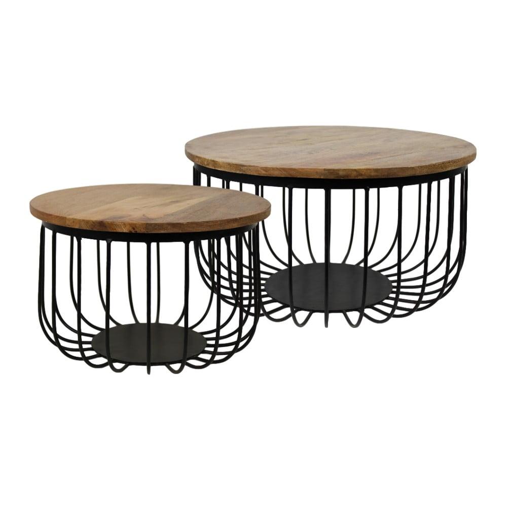 Sada 2 odkládacích stolků z mangového dřeva HSM Collection Maden