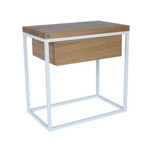 Bílý noční stolek s deskou z dubového dřeva take me HOME Moonlight, 50x30cm