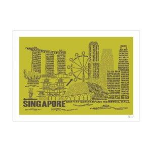 Plakát Singapore Green&Grey, 50x70 cm