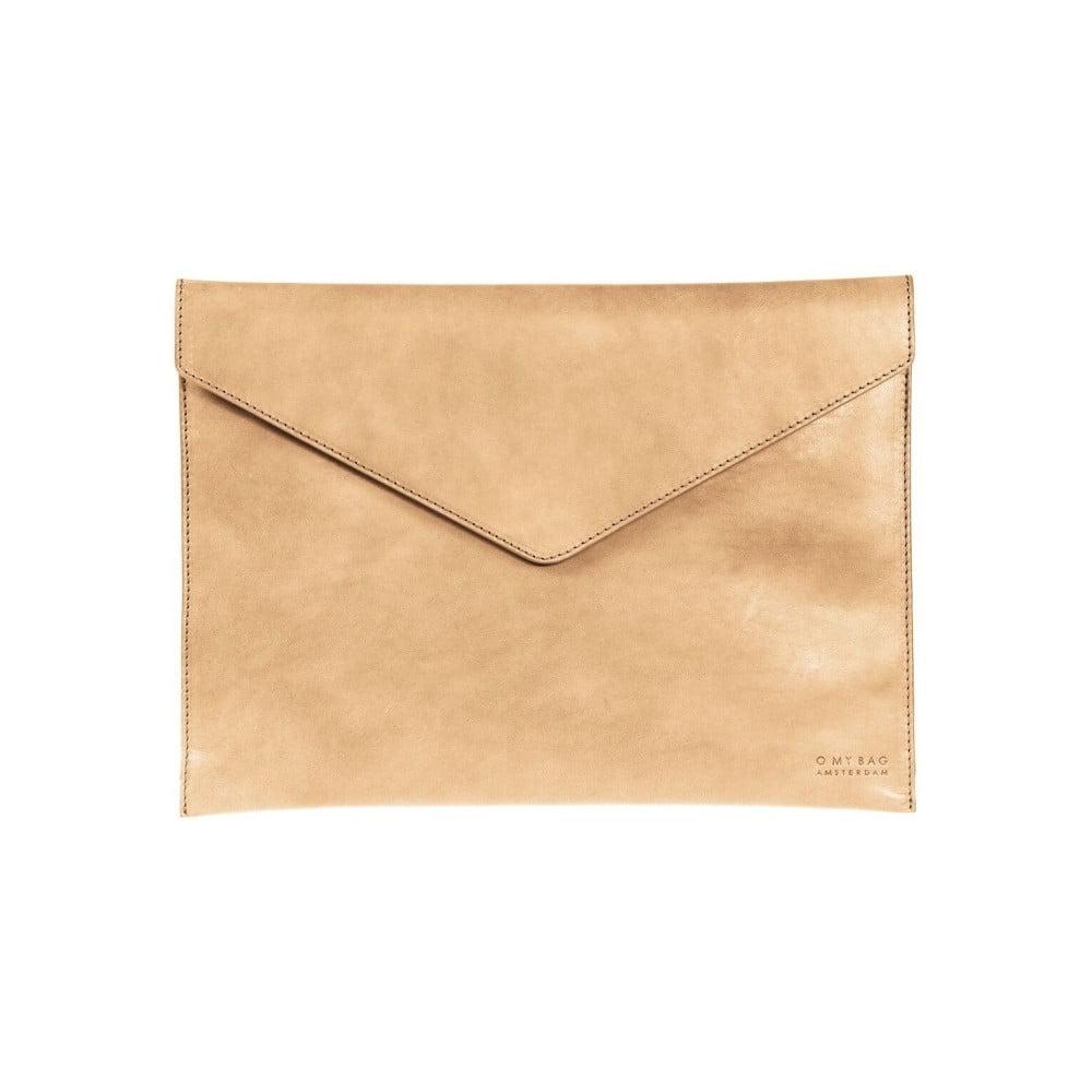 """Béžový kožený obal na notebook 13"""" ve tvaru obálky O My Bag"""