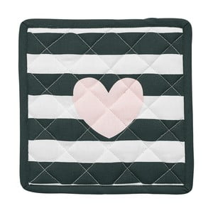 Sada 2 chňapek Miss Étoile Heart Rose Black Stripes, 21 x 21 cm