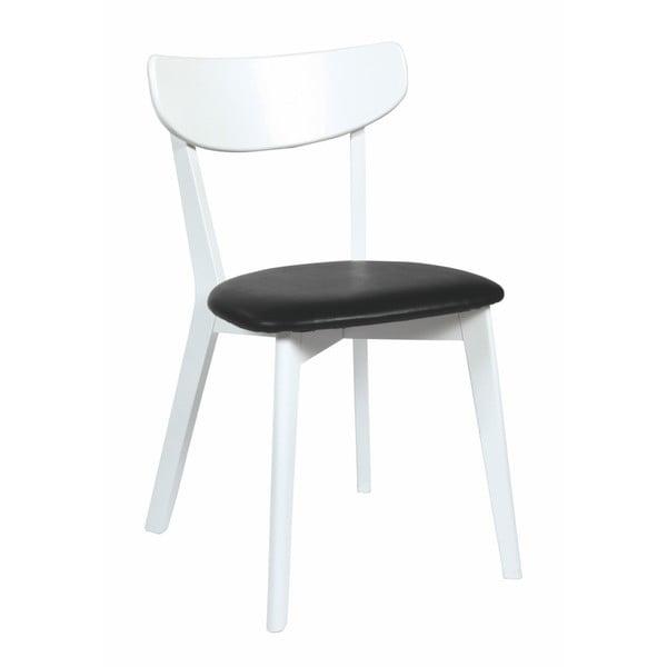 Bílá dubová jídelní židle s černým sedákem Rowico Amia