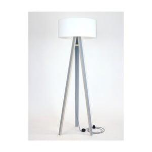 Lampă gri cu abajur alb și cablu alb negru Ragaba Wanda
