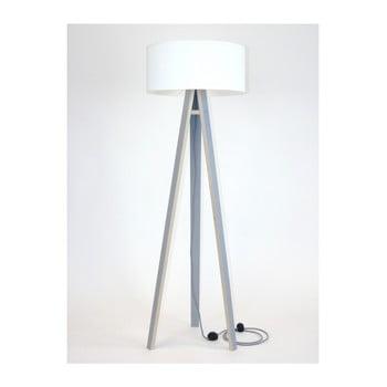 Lampadar gri cu abajur alb și cablu alb - negru Ragaba Wanda imagine