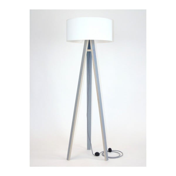 Wanda szürke állólámpa, fehér búrával és fekete-fehér kábellel - Ragaba