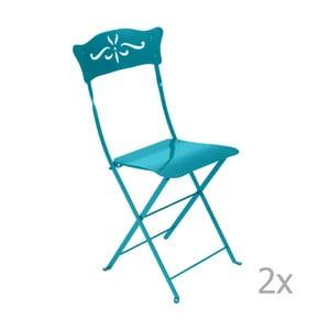 Sada 2 modrých skládacích zahradních židlí Fermob Bagatelle