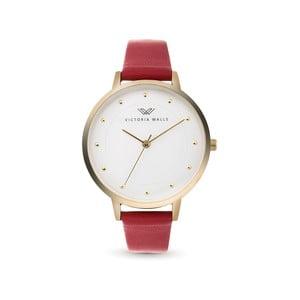 Dámské hodinky s červeným koženým řemínkem Victoria Walls Dusk