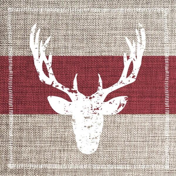 Balení 10 papírových ubrousků s vánočním motivem PPD Deer Fashion Burgundy