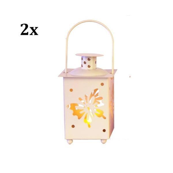 Set dvou bílých luceren s LED žárovkou