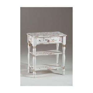 Bílý dřevěná noční stolek se zásuvkou Castagnetti Romance