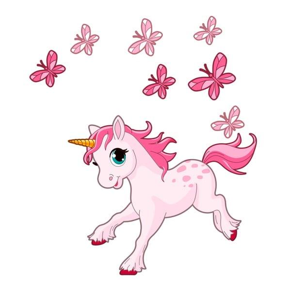 Nástěnné dětské samolepky Ambiance Pink Unicorn and Papillons