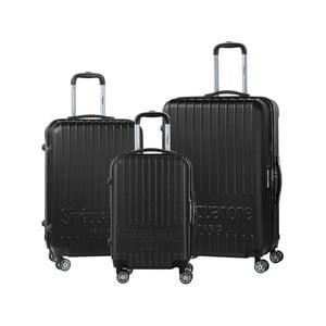 Sada 3 černých cestovních kufrů na kolečkách se kódovým zámkem SINEQUANONE