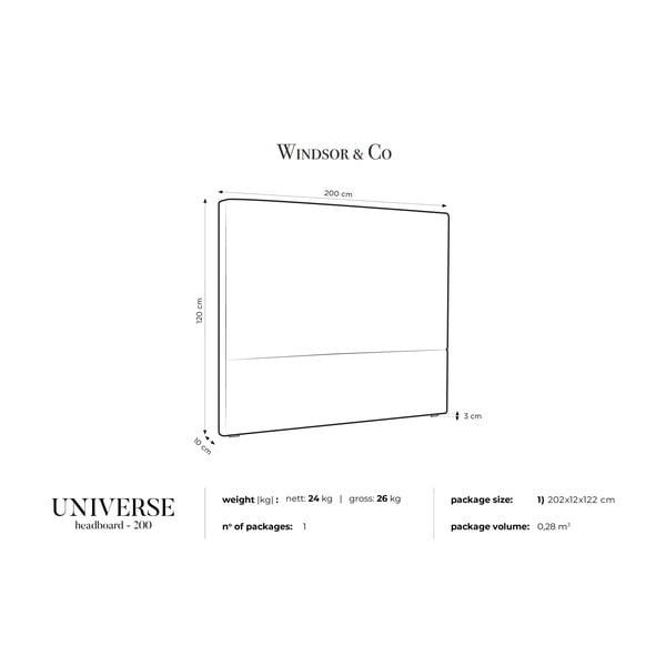 Světle růžové čelo postele Windsor & Co Sofas UNIVERSE, 200x120cm