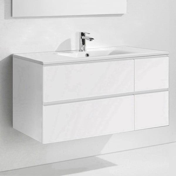 Koupelnová skříňka s umyvadlem a zrcadlem Capri, odstín bílé, 120 cm