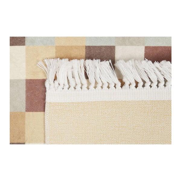 Béžový sametový koberec Deri, 150x80 cm