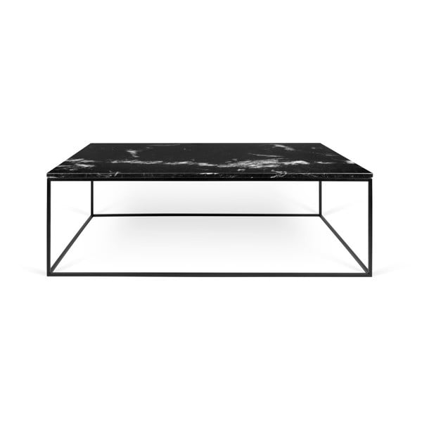 Gleam fekete dohányzóasztal márvány asztallappal és fekete lábakkal, 75 x 120 cm - TemaHome