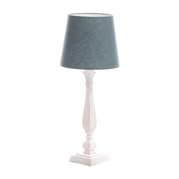 Modrá stolní lampa Tower, bílá lakovaná bříza, Ø 24 cm