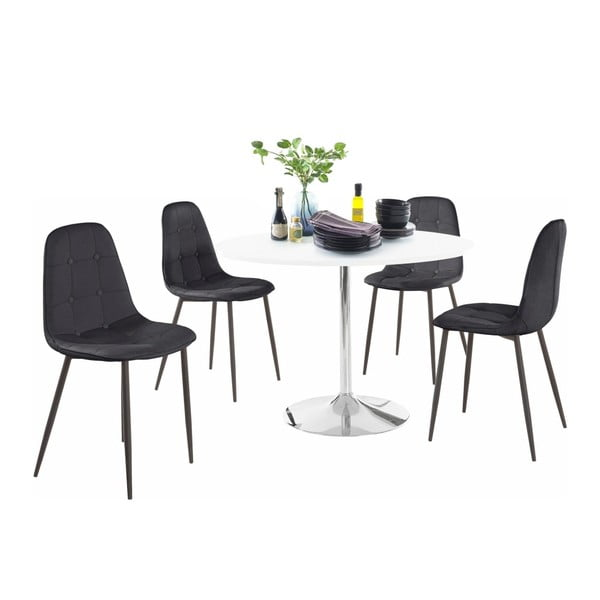 Sada kulatého jídelního stolu a 4 černých židlí Støraa Terri