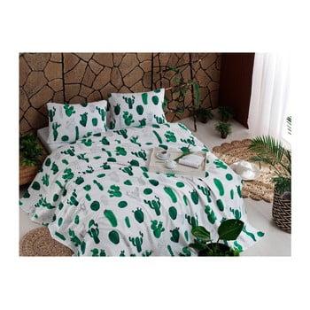 Set cuvertură din bumbac, cearșaf și 2 fețe de pernă Kaktus Green, 200 x 235 cm