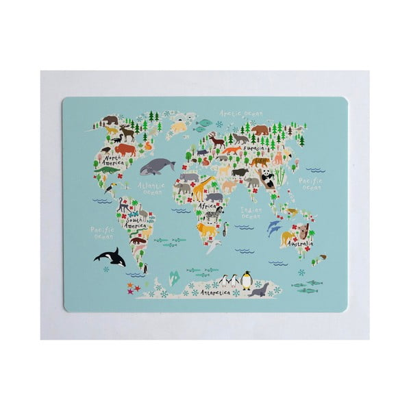 World Map könyökalátét, 55 x 35 cm - Little Nice Things