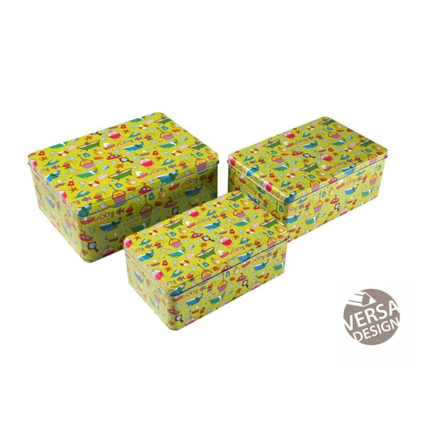 Sada 3 zelených kovových krabic Versa