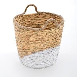Proutěný koš Beige/White, 30x25 cm