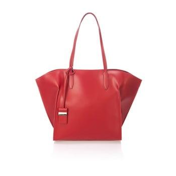 Geantă din piele Giulia Massari Latina, roșu bordo de la Giulia Massari