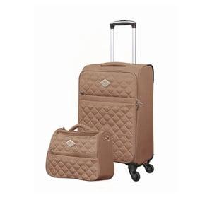 Sada béžového kufru atoaletní tašky GERARD PASQUIER Adventure, 38 l + 16 l