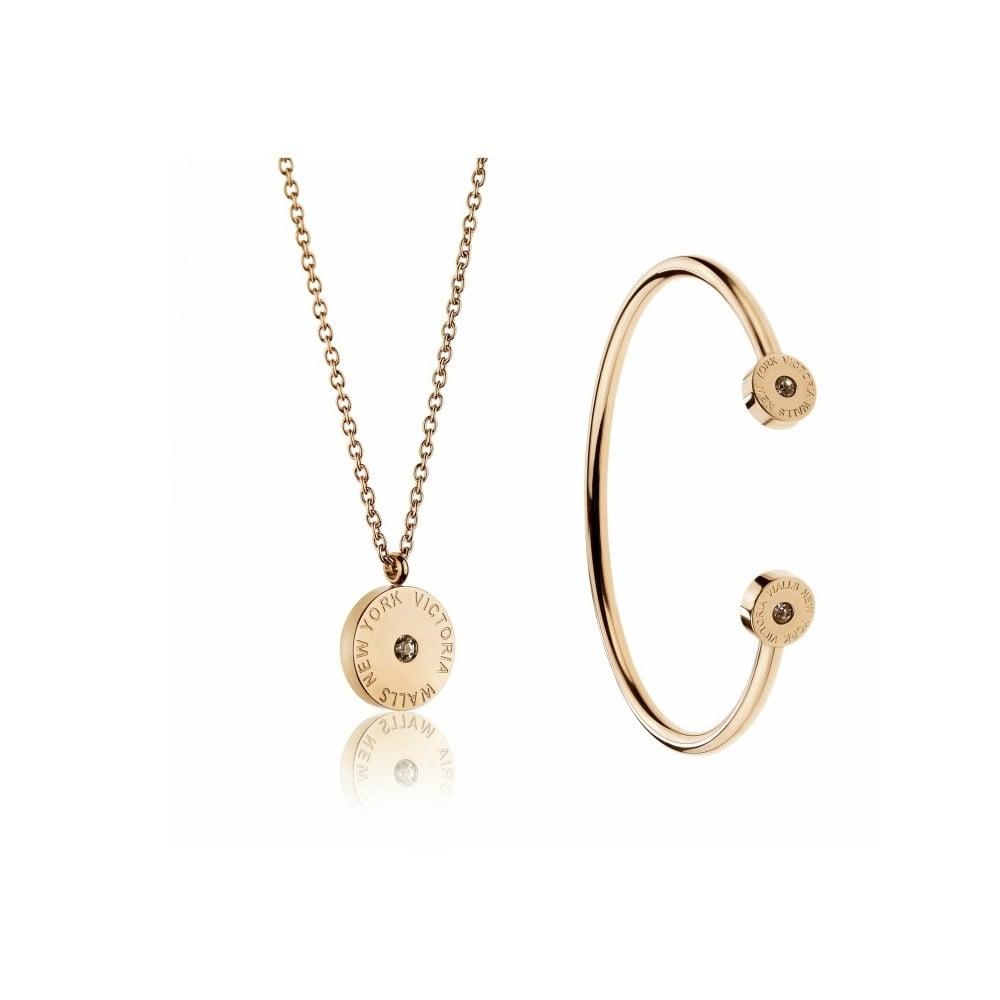 Set náhrdelníku a náramku z chirurgické oceli ve zlaté barvě Victoria Walls Lia