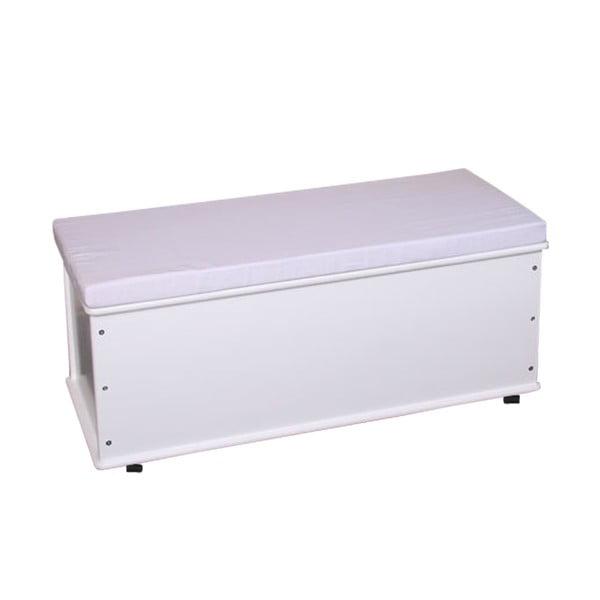 Lavice s úložným prostorem Shabby 91 cm, bílá
