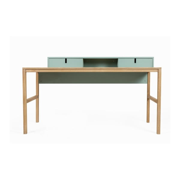 Sesi borovi fenyőfa és tölgyfa íróasztal, 2 fiókkal - Askala