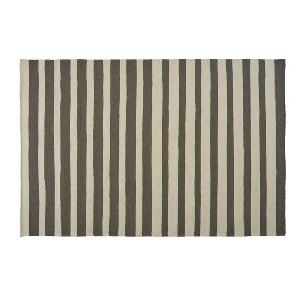 Šedý ručně tkaný vlněný koberec Toya, 160x230cm