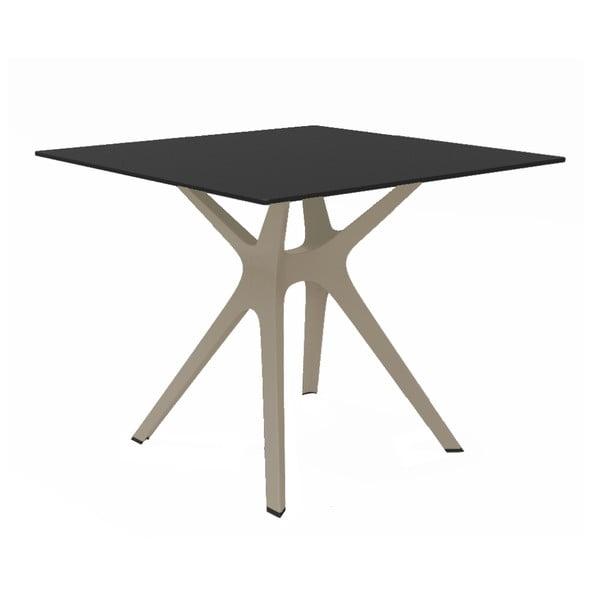 Jídelní stůl s hnědýma nohama a černou deskou vhodný do exteriéru Resol Vela, 90 x 90 cm