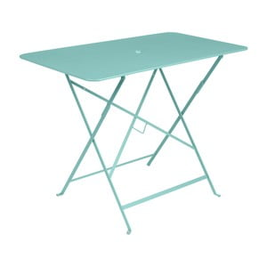 Světle modrý zahradní stolek Fermob Bistro, 97 x 57 cm