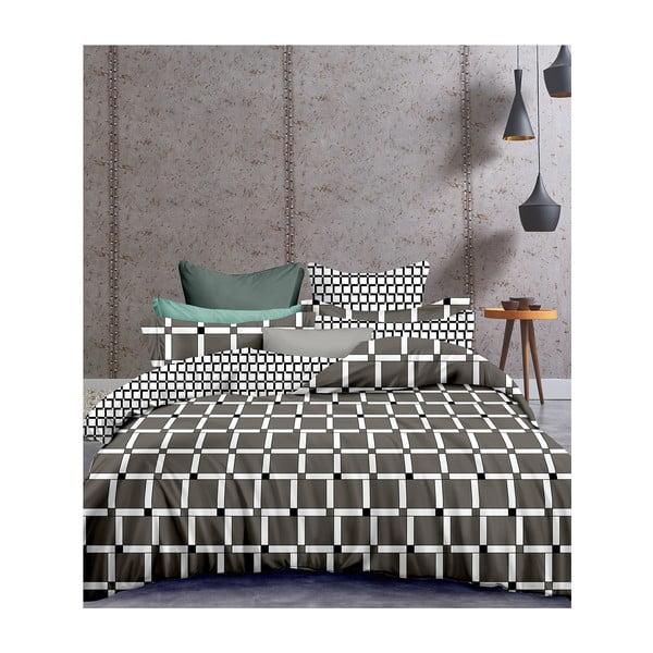 Lenjerie din microfibră cu 2 fețe pentru pat dublu DecoKing Hypnosis Wall, 240 x 220 cm